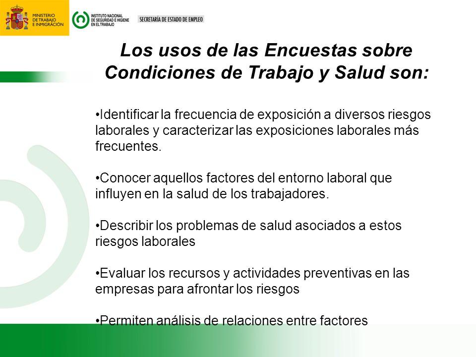 Los usos de las Encuestas sobre Condiciones de Trabajo y Salud son: