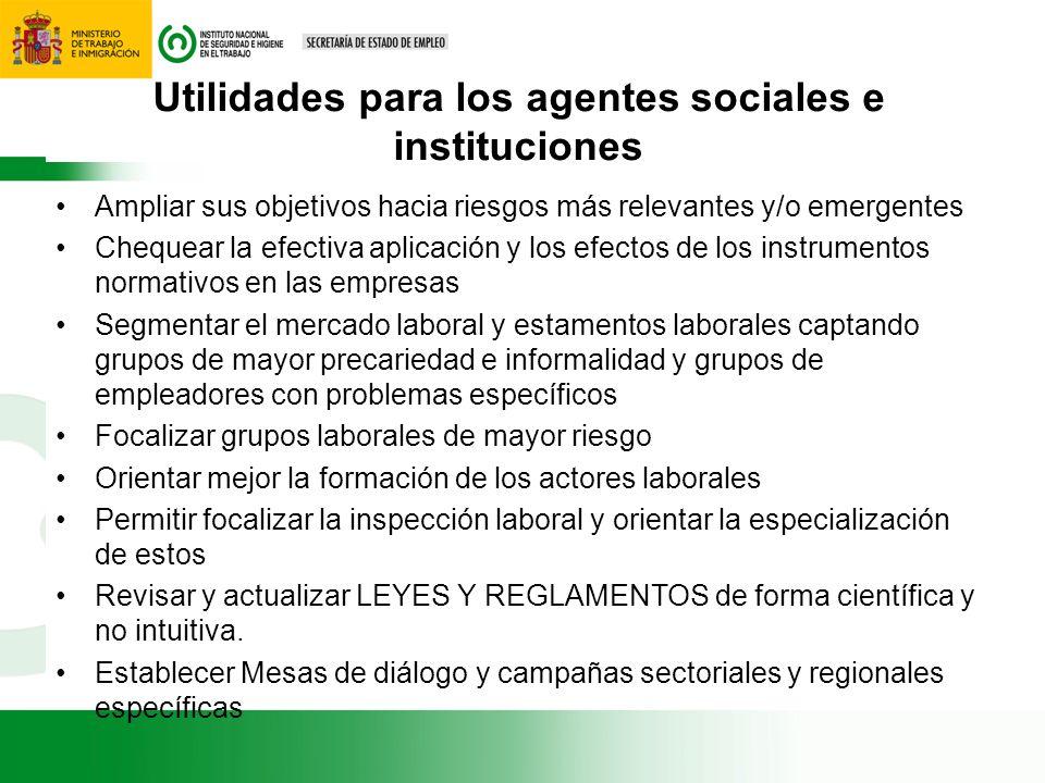 Utilidades para los agentes sociales e instituciones