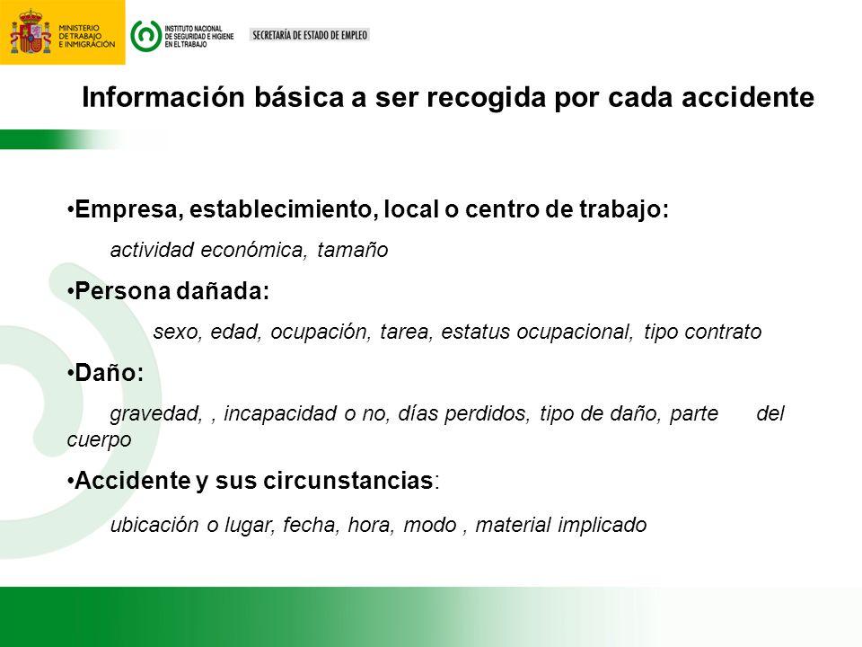 Información básica a ser recogida por cada accidente