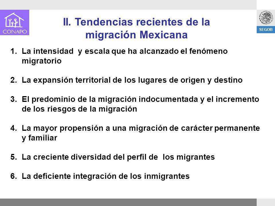 II. Tendencias recientes de la migración Mexicana