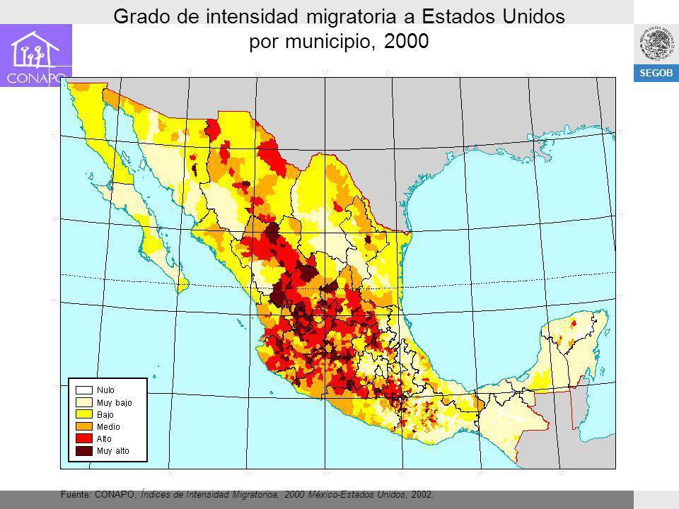 Grado de intensidad migratoria a Estados Unidos