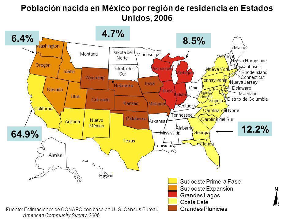 Población nacida en México por región de residencia en Estados Unidos, 2006
