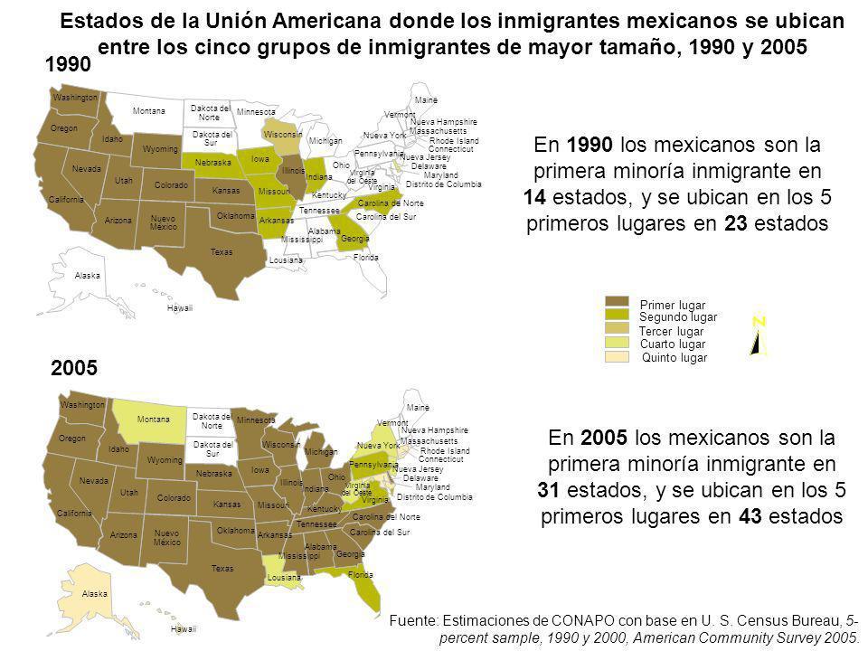 Estados de la Unión Americana donde los inmigrantes mexicanos se ubican entre los cinco grupos de inmigrantes de mayor tamaño, 1990 y 2005