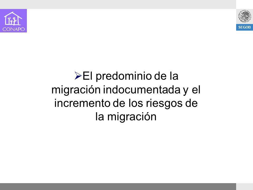 El predominio de la migración indocumentada y el incremento de los riesgos de la migración