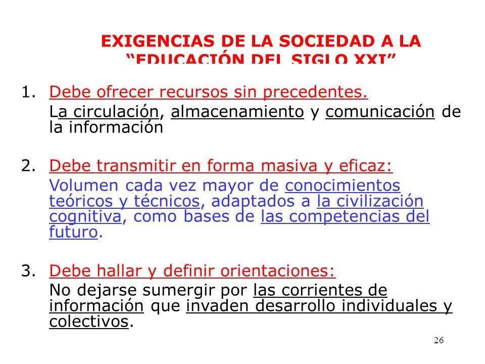 EXIGENCIAS DE LA SOCIEDAD A LA EDUCACIÓN DEL SIGLO XXI