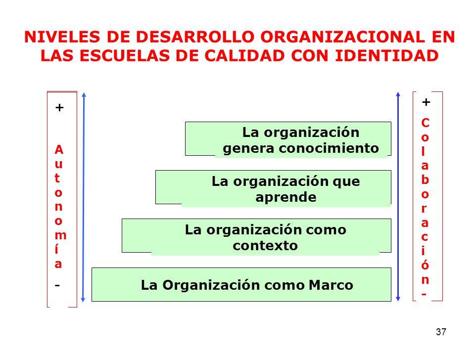 NIVELES DE DESARROLLO ORGANIZACIONAL EN LAS ESCUELAS DE CALIDAD CON IDENTIDAD