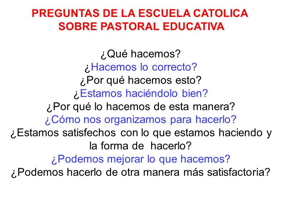 PREGUNTAS DE LA ESCUELA CATOLICA SOBRE PASTORAL EDUCATIVA