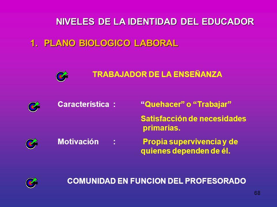 NIVELES DE LA IDENTIDAD DEL EDUCADOR
