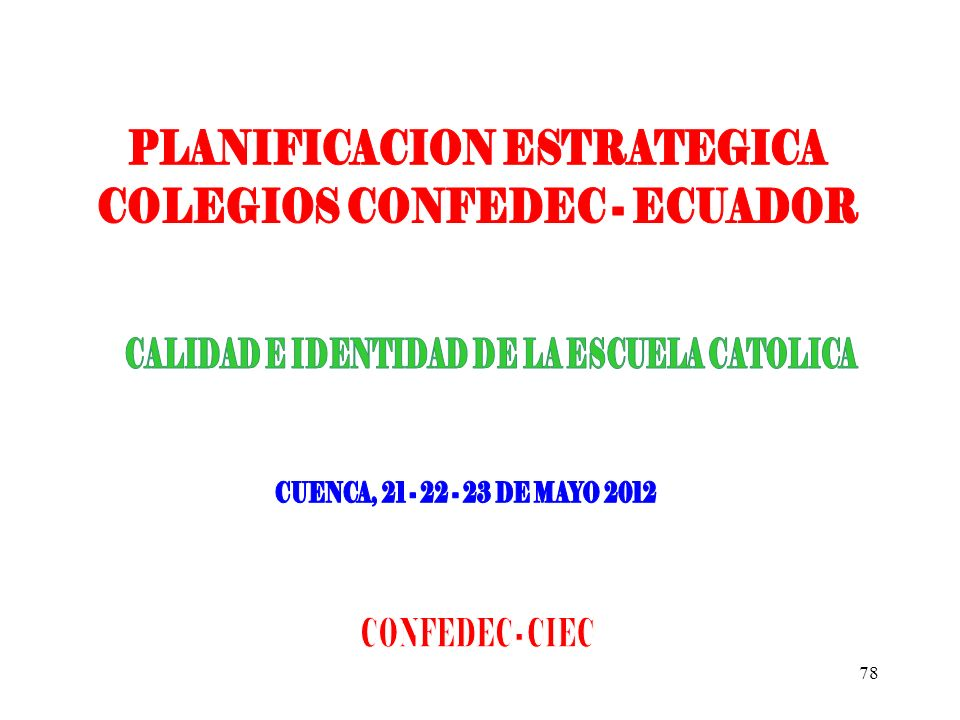 PLANIFICACION ESTRATEGICA COLEGIOS CONFEDEC - ECUADOR