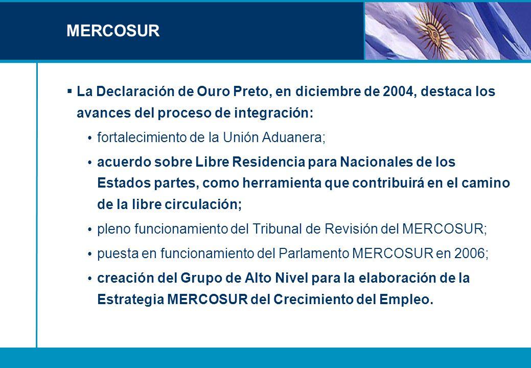 MERCOSURLa Declaración de Ouro Preto, en diciembre de 2004, destaca los avances del proceso de integración: