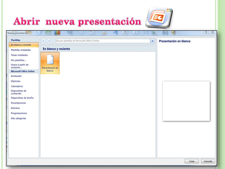 Abrir nueva presentación