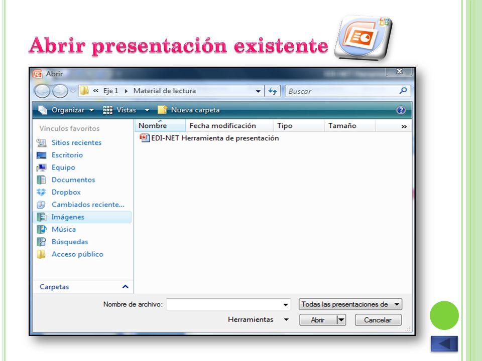 Abrir presentación existente