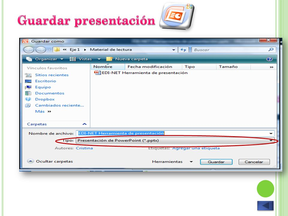Guardar presentación