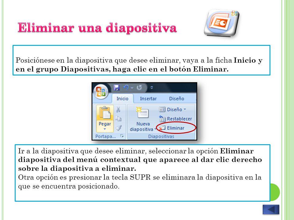 Eliminar una diapositiva