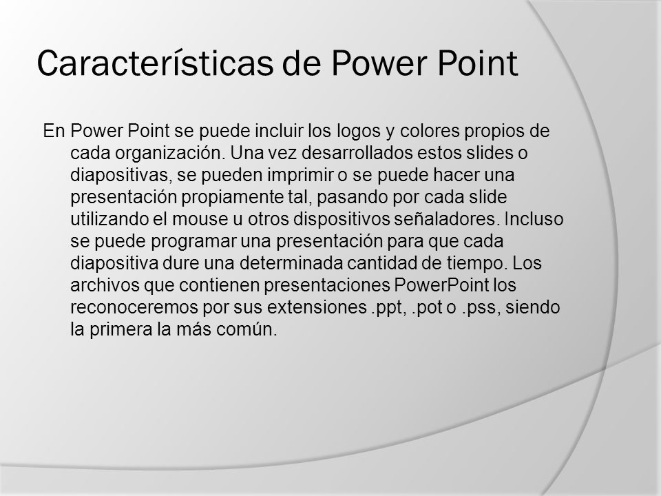 Características de Power Point
