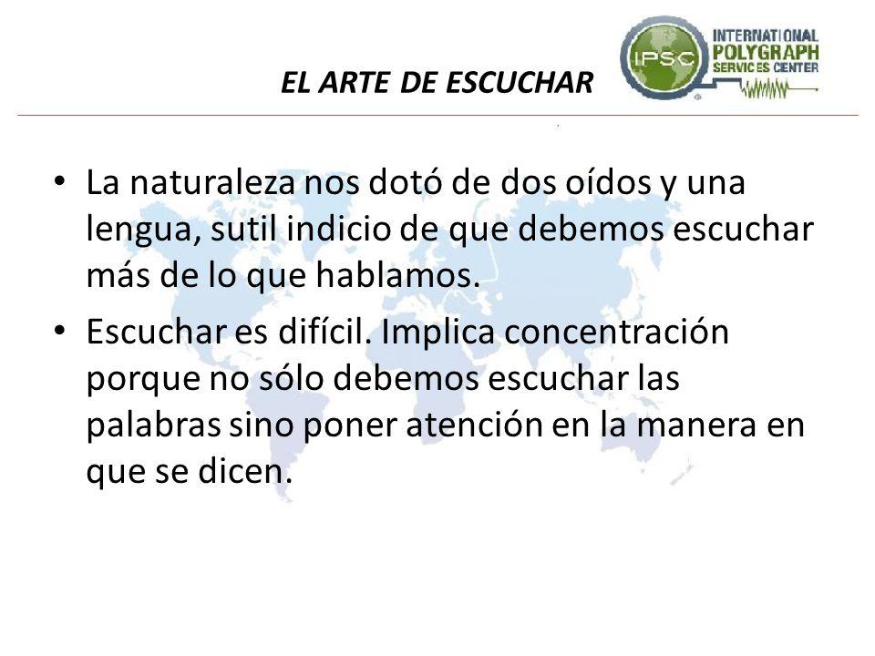 EL ARTE DE ESCUCHAR La naturaleza nos dotó de dos oídos y una lengua, sutil indicio de que debemos escuchar más de lo que hablamos.