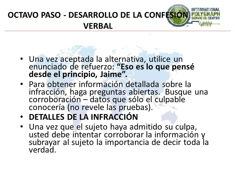 OCTAVO PASO - DESARROLLO DE LA CONFESIÓN VERBAL