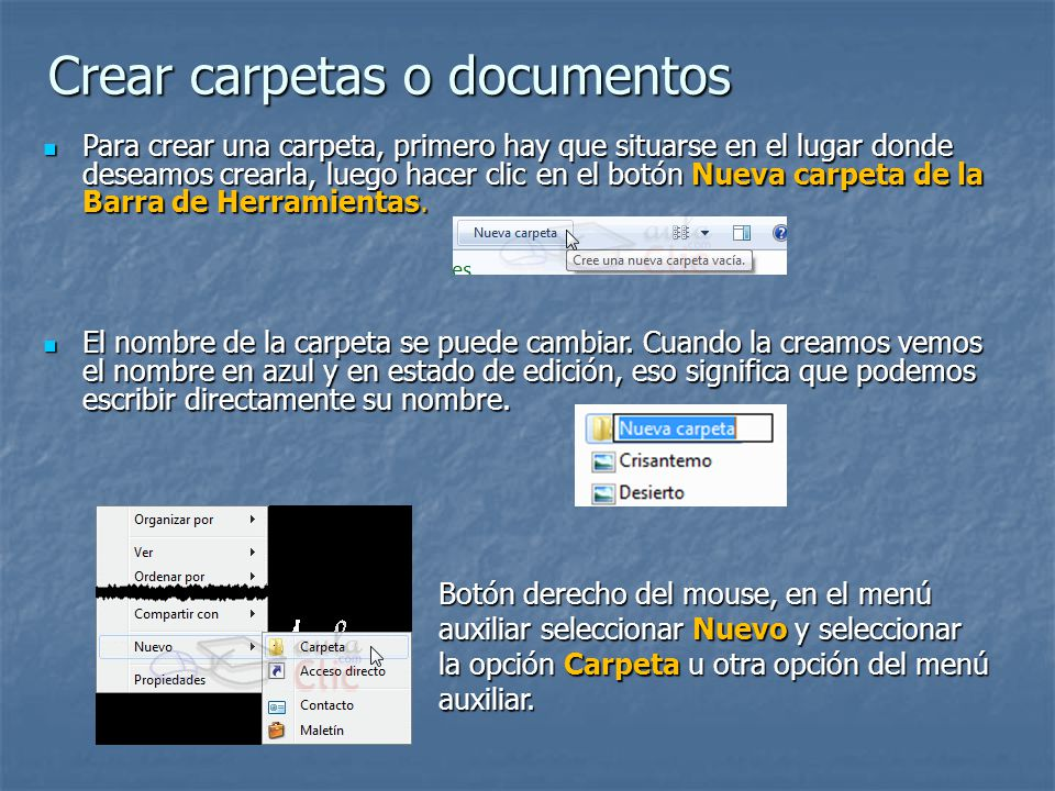Crear carpetas o documentos