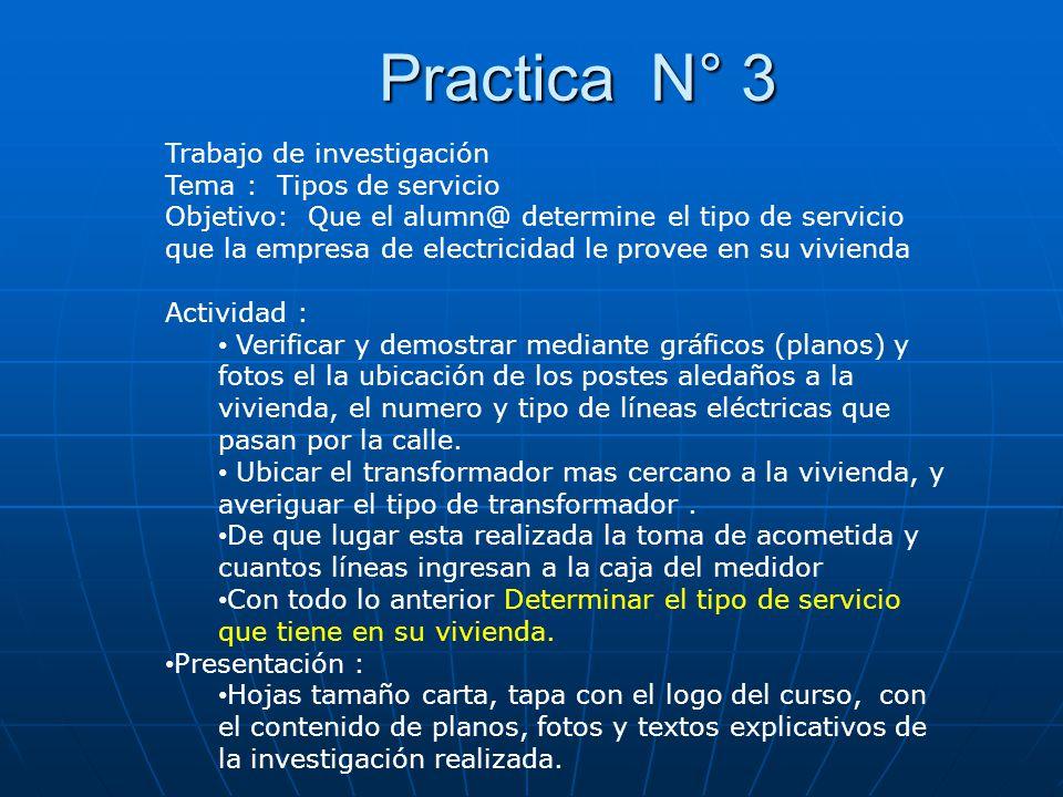Practica N° 3 Trabajo de investigación Tema : Tipos de servicio