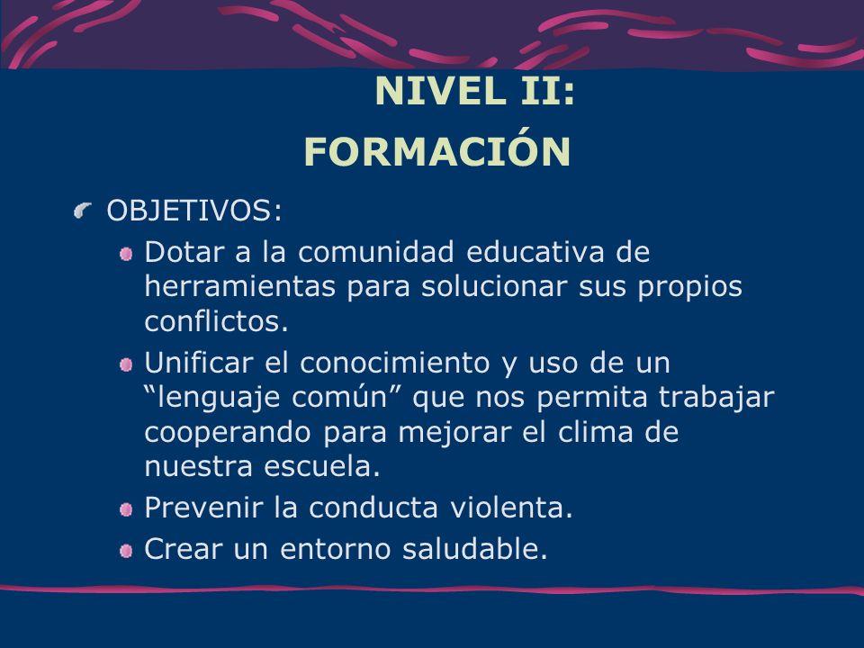 NIVEL II: FORMACIÓN OBJETIVOS: