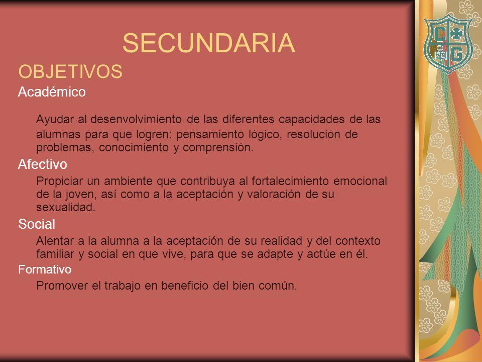 SECUNDARIA OBJETIVOS. Académico.