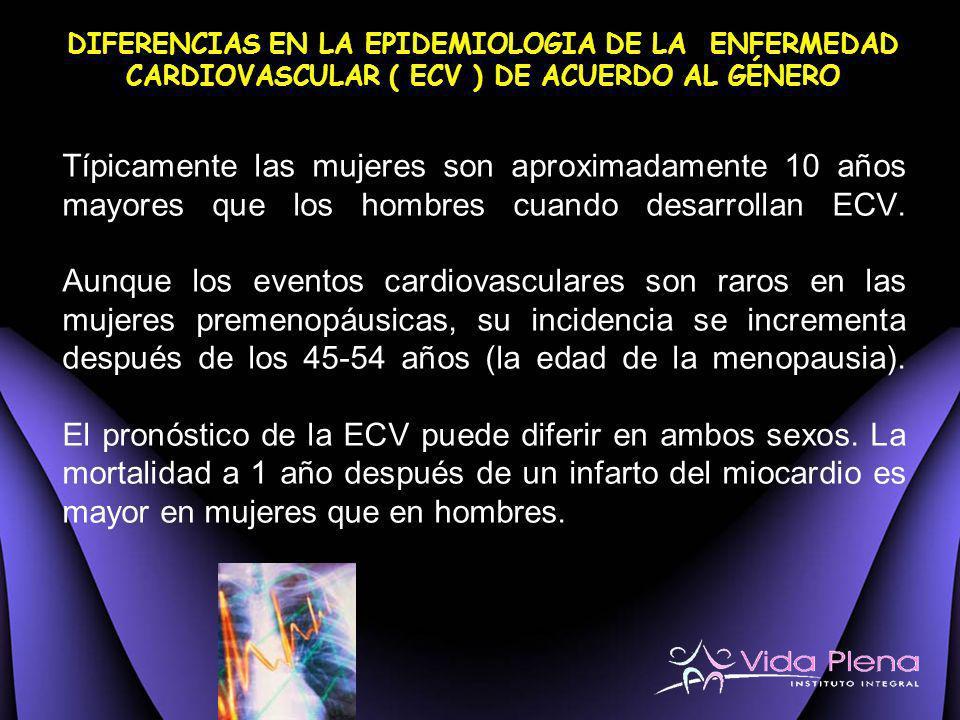 DIFERENCIAS EN LA EPIDEMIOLOGIA DE LA ENFERMEDAD CARDIOVASCULAR ( ECV ) DE ACUERDO AL GÉNERO