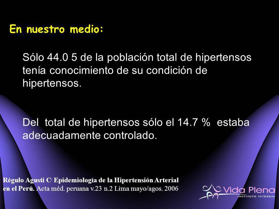 En nuestro medio: Sólo 44.0 5 de la población total de hipertensos tenía conocimiento de su condición de hipertensos.