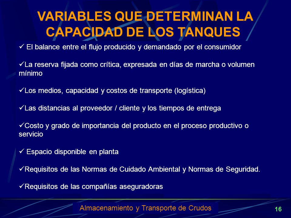 VARIABLES QUE DETERMINAN LA CAPACIDAD DE LOS TANQUES