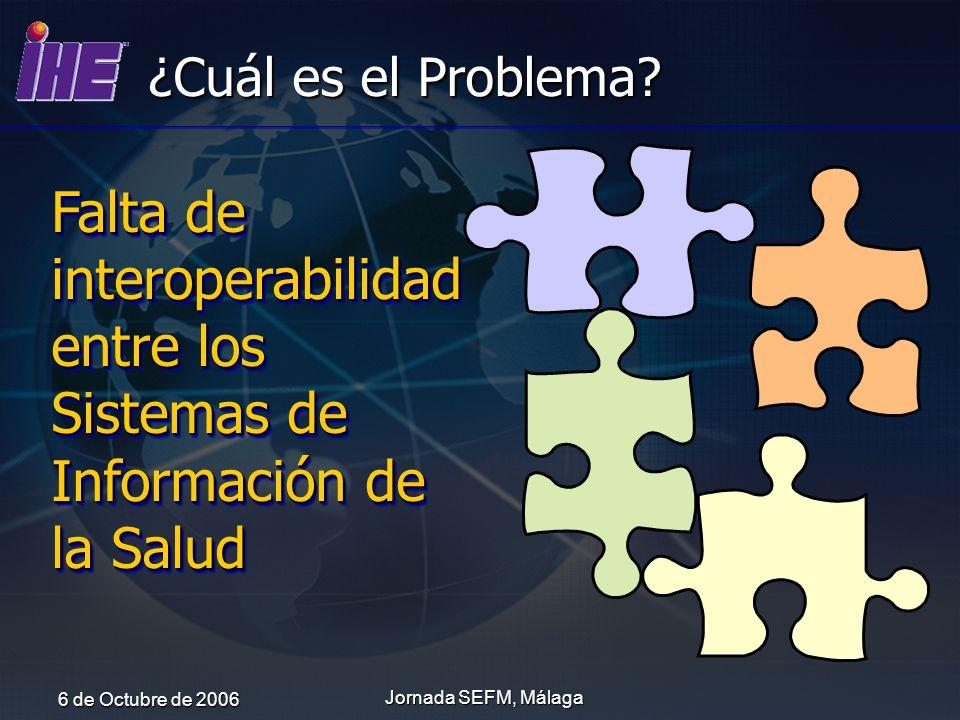 ¿Cuál es el Problema Falta de interoperabilidad entre los Sistemas de Información de la Salud. 6 de Octubre de 2006.