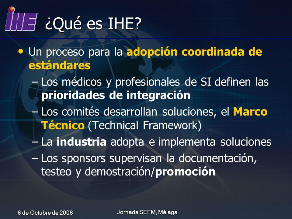 ¿Qué es IHE Un proceso para la adopción coordinada de estándares