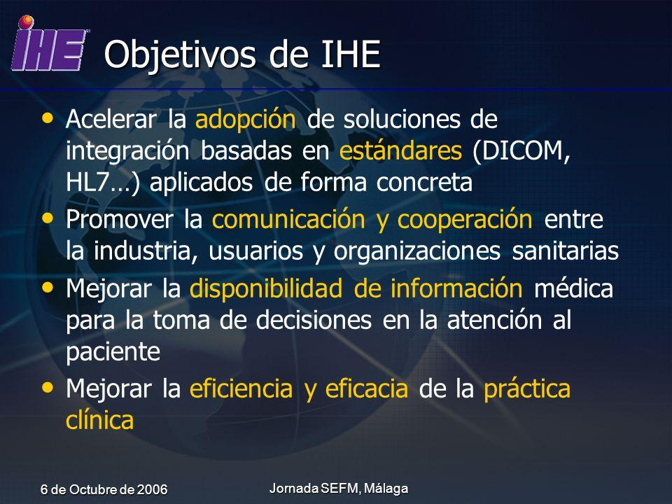 Objetivos de IHE Acelerar la adopción de soluciones de integración basadas en estándares (DICOM, HL7…) aplicados de forma concreta.