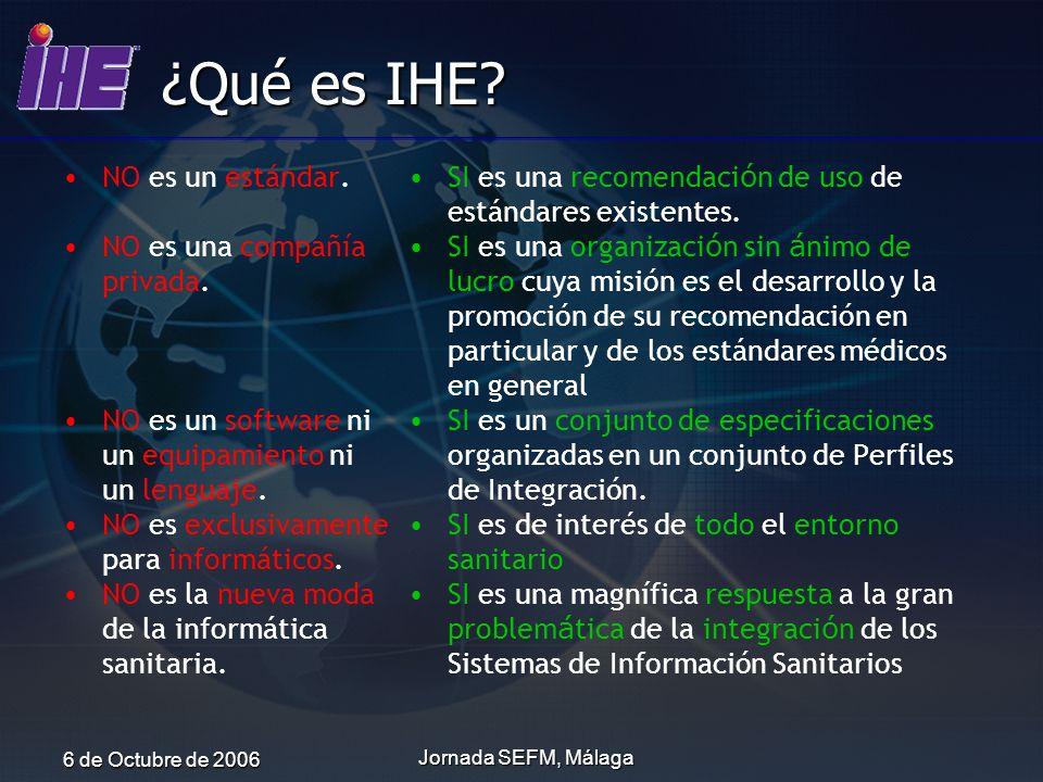 ¿Qué es IHE NO es un estándar. NO es una compañía privada.