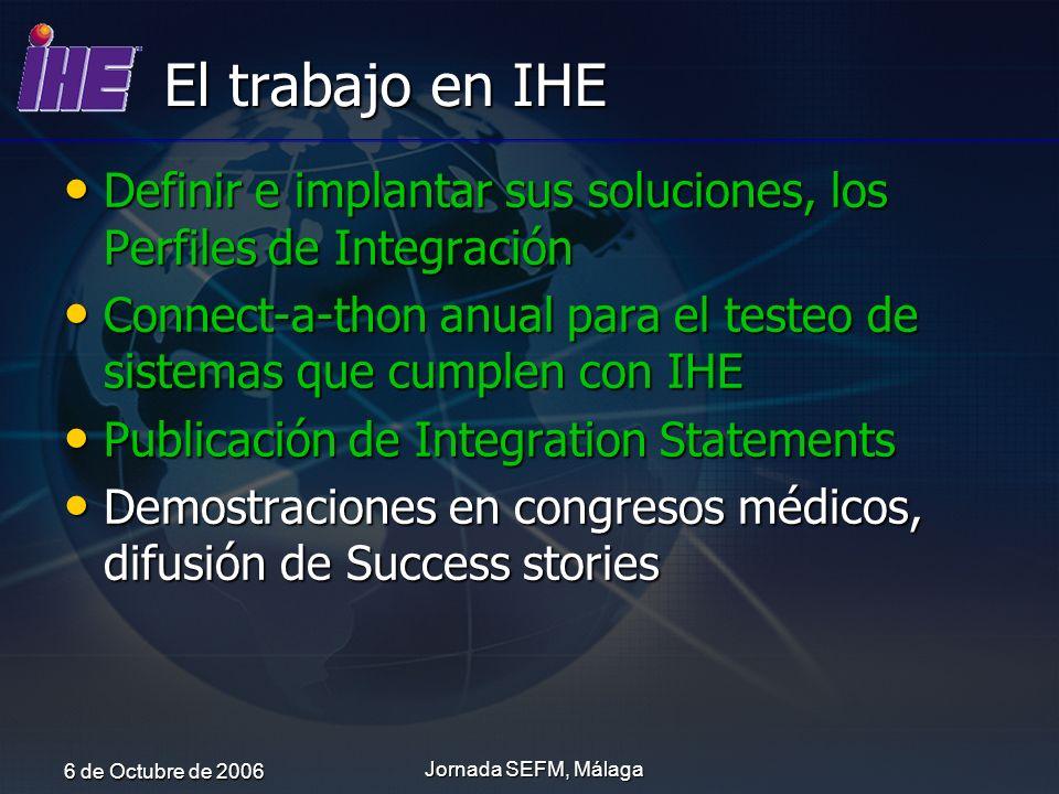 El trabajo en IHE Definir e implantar sus soluciones, los Perfiles de Integración.