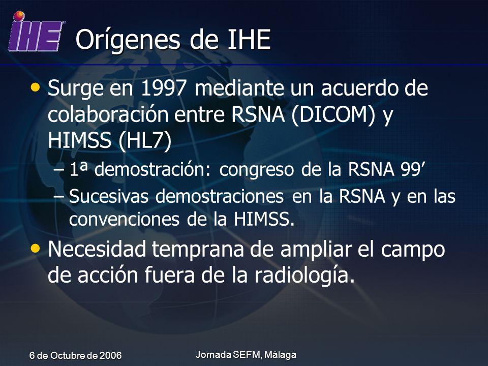 Orígenes de IHE Surge en 1997 mediante un acuerdo de colaboración entre RSNA (DICOM) y HIMSS (HL7) 1ª demostración: congreso de la RSNA 99'