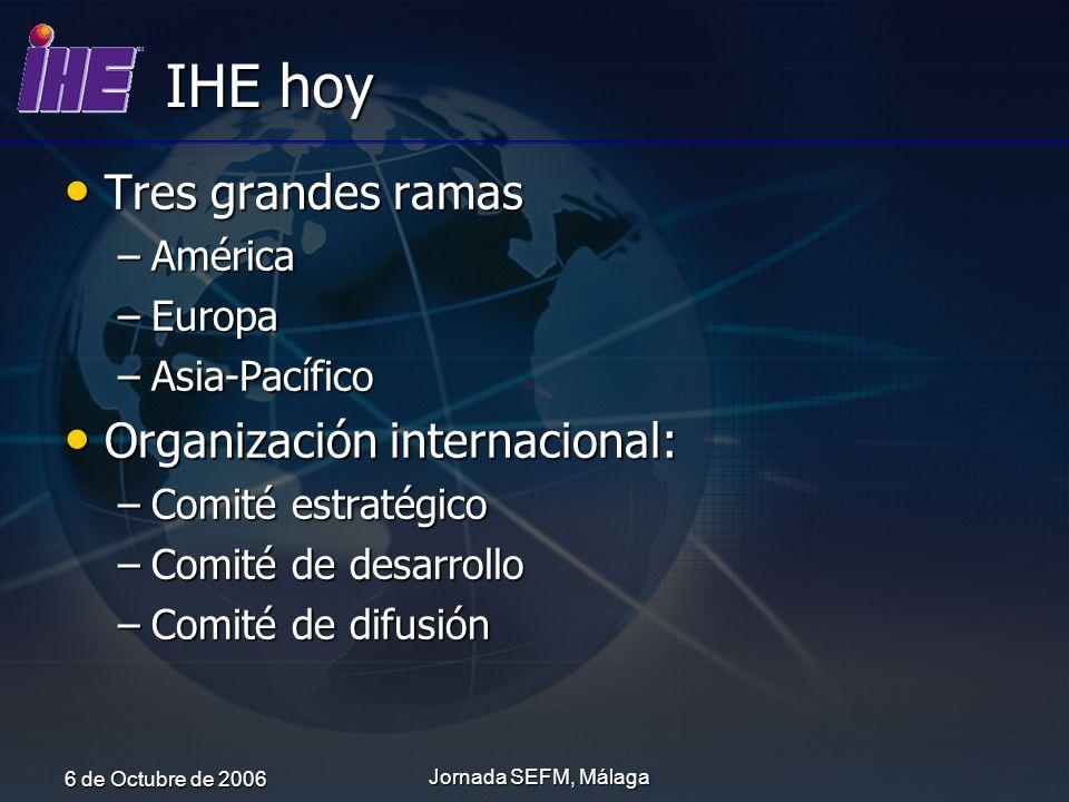 IHE hoy Tres grandes ramas Organización internacional: América Europa