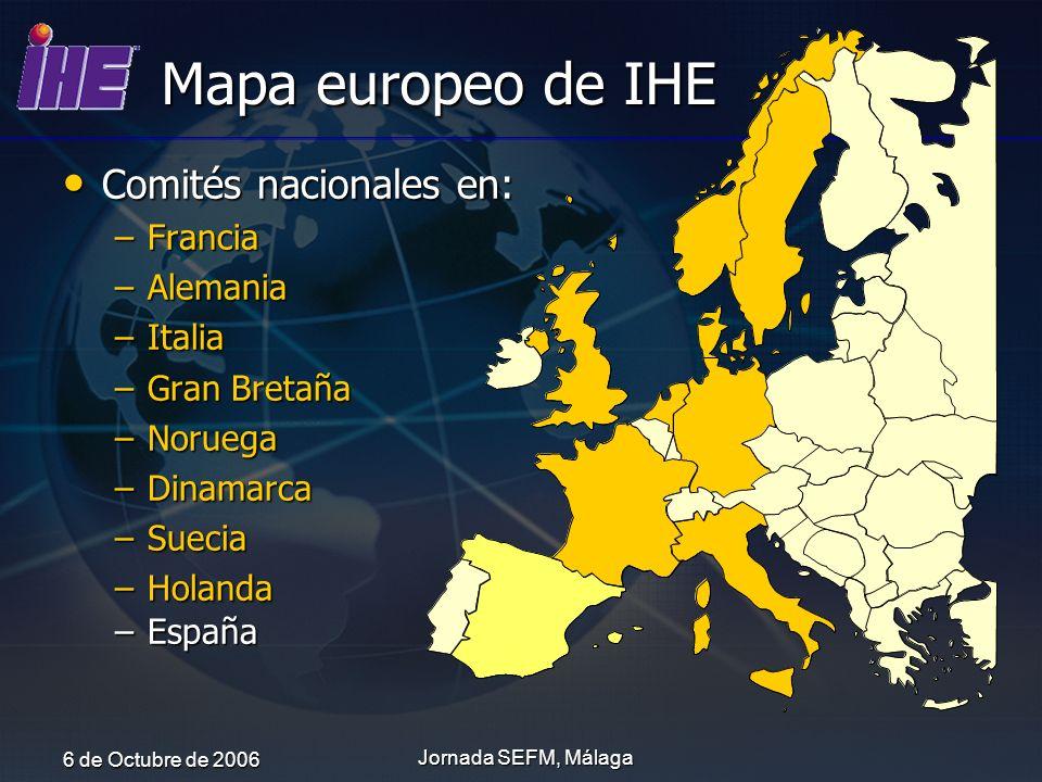 Mapa europeo de IHE Comités nacionales en: Francia Alemania Italia