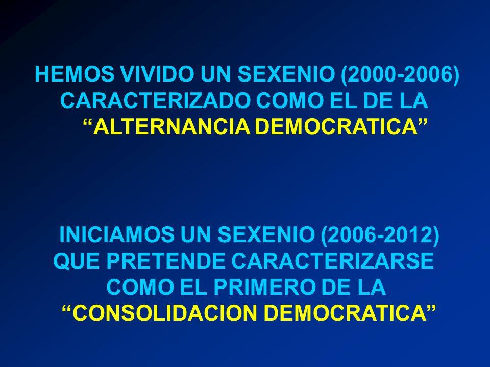 HEMOS VIVIDO UN SEXENIO (2000-2006) CARACTERIZADO COMO EL DE LA
