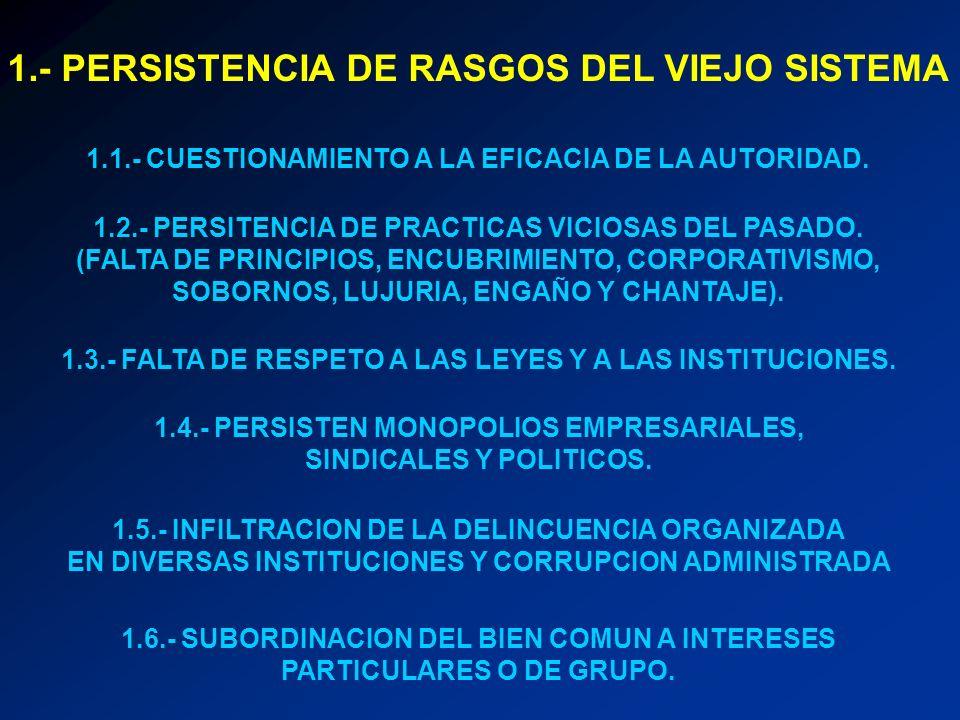 1.- PERSISTENCIA DE RASGOS DEL VIEJO SISTEMA