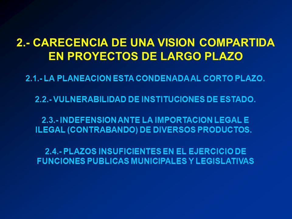 2.- CARECENCIA DE UNA VISION COMPARTIDA EN PROYECTOS DE LARGO PLAZO