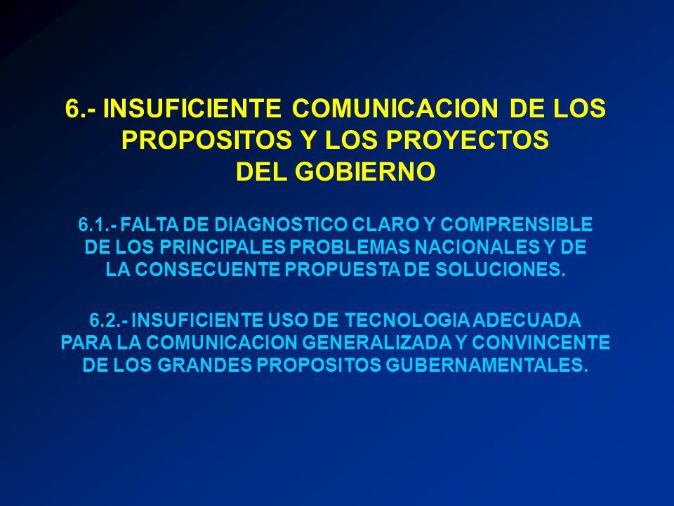 6.- INSUFICIENTE COMUNICACION DE LOS PROPOSITOS Y LOS PROYECTOS