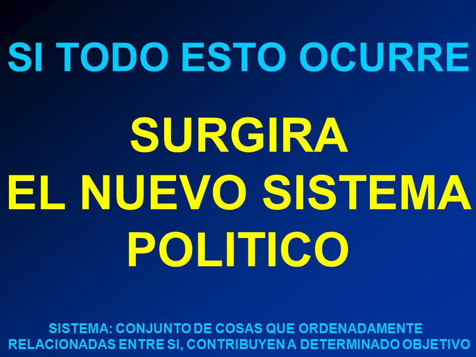 SURGIRA EL NUEVO SISTEMA POLITICO