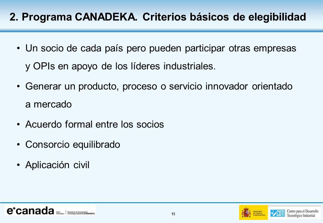 2. Programa CANADEKA. Criterios básicos de elegibilidad