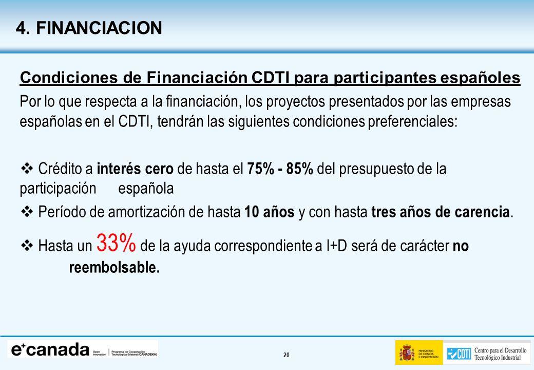 4. FINANCIACION Condiciones de Financiación CDTI para participantes españoles.