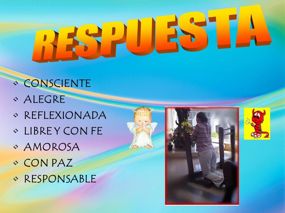 RESPUESTA CONSCIENTE ALEGRE REFLEXIONADA LIBRE Y CON FE AMOROSA