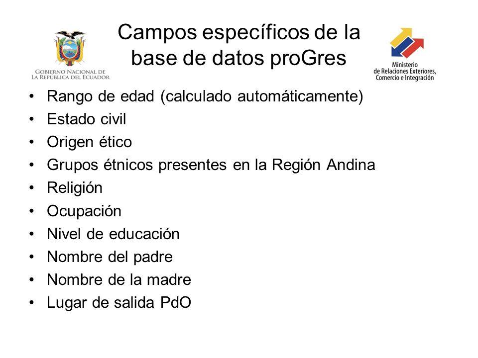 Campos específicos de la base de datos proGres