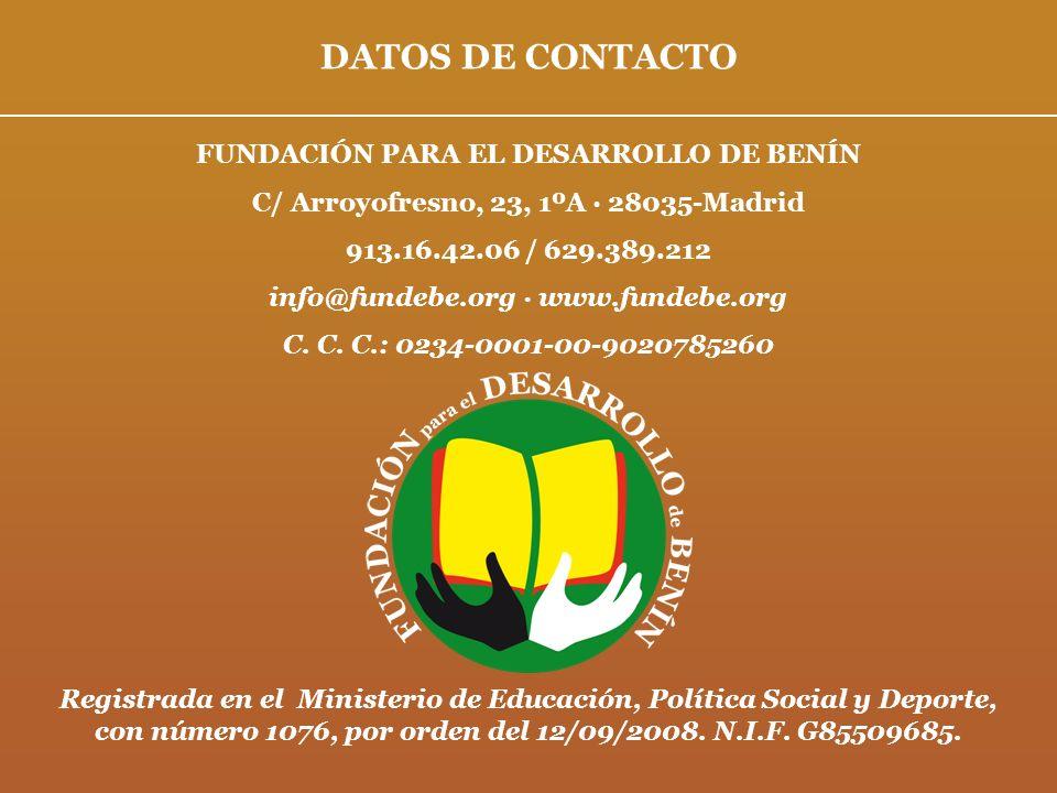 DATOS DE CONTACTO FUNDACIÓN PARA EL DESARROLLO DE BENÍN