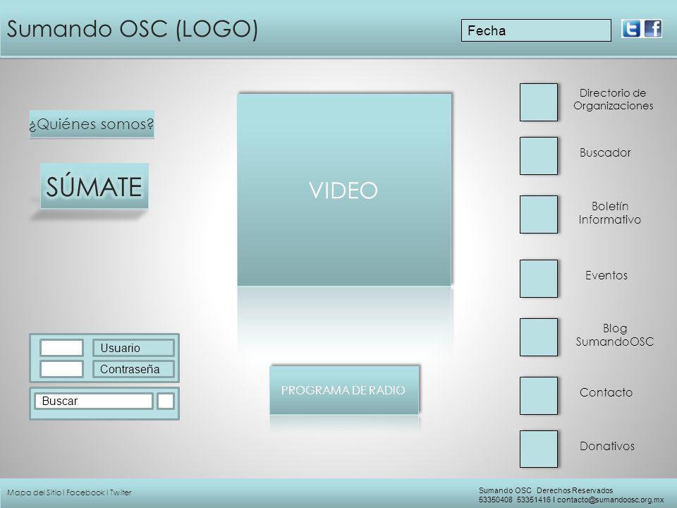 SÚMATE Sumando OSC (LOGO) VIDEO ¿Quiénes somos Fecha Buscador