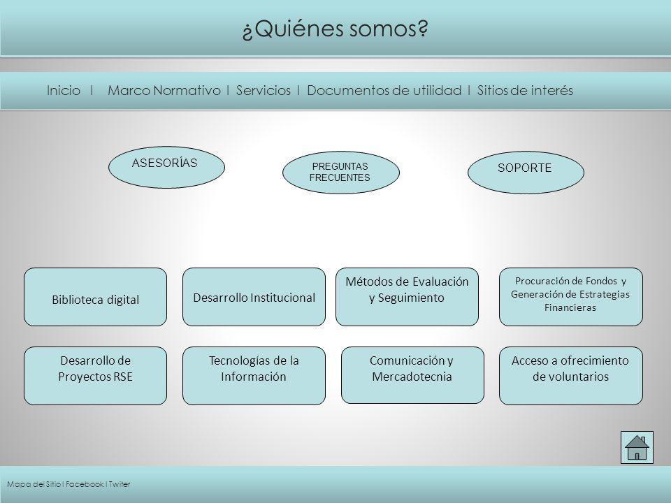 ¿Quiénes somos Inicio I Marco Normativo I Servicios I Documentos de utilidad I Sitios de interés.
