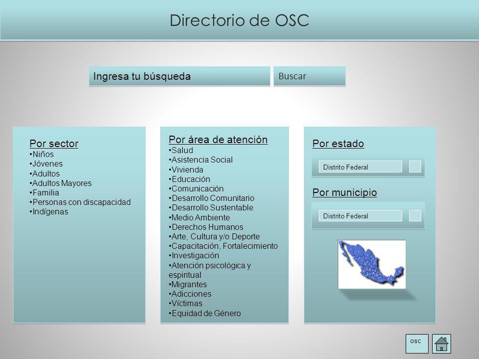 Directorio de OSC Ingresa tu búsqueda Buscar Por área de atención
