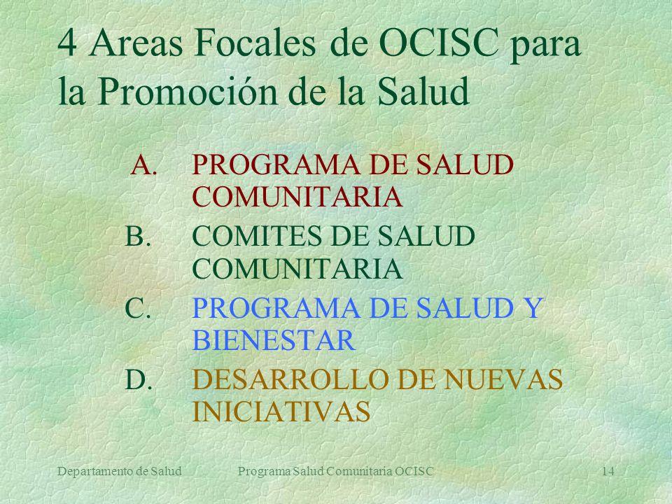 4 Areas Focales de OCISC para la Promoción de la Salud